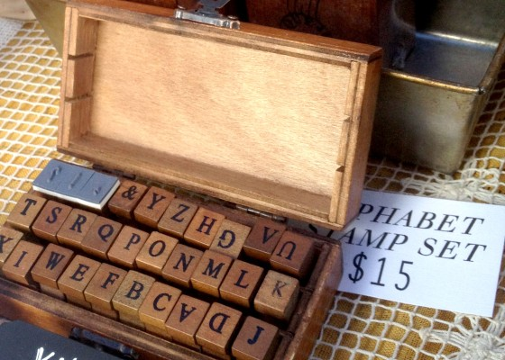 An entire set of wooden alphabet stamps.