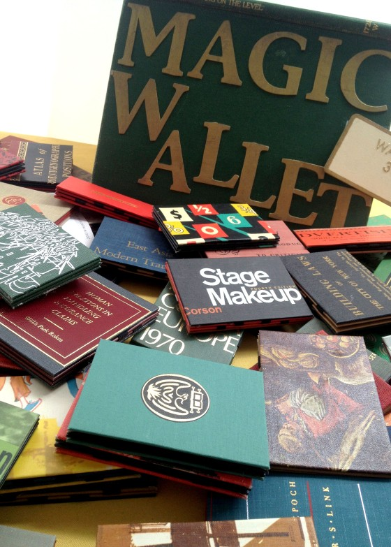 These wallets are made from vintage book covers. How cool is that?