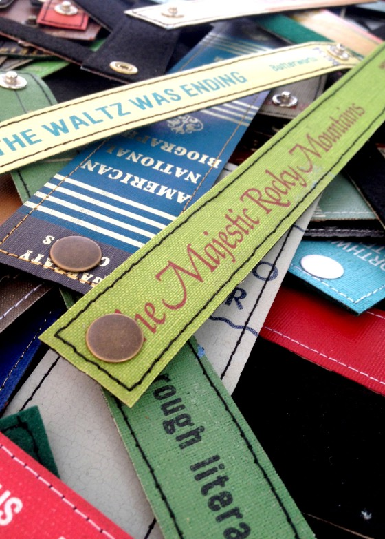 The same guy who made the book cover wallets also made bracelets out of vintage book spines.