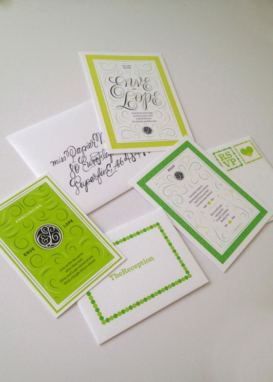 Even though there is not use for these, it is one of my favorite things I picked up. An adorable wedding invitation suite for Enve & Lope. How cute, right?