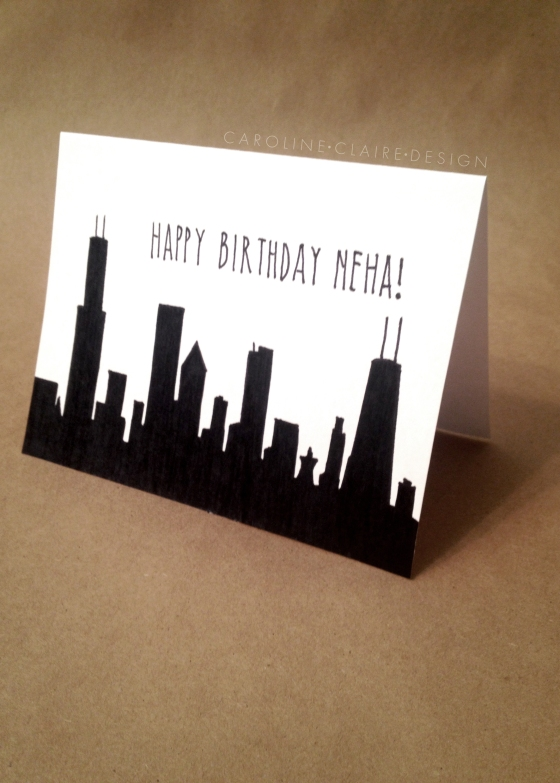 Here's Neha's skyline inspired birthday card.