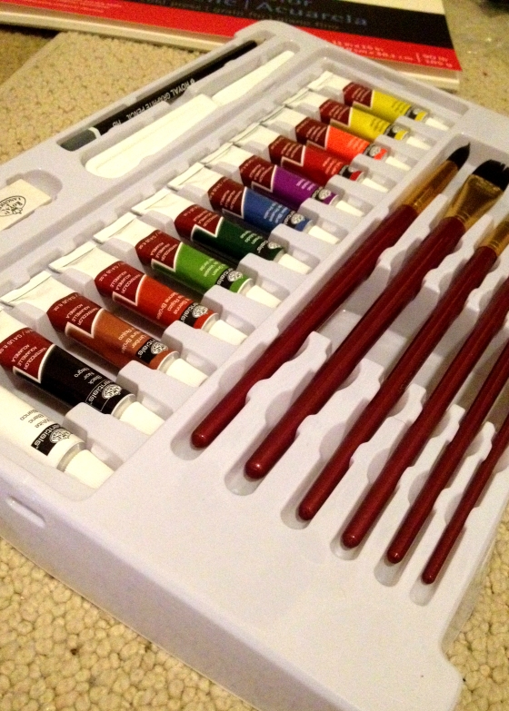 While I was shopping elsewhere I stumbled across this entire watercolor kit. Complete with tubed watercolor, brushes, and even a small pad of paper. I'm not sure about the quality, but I figured it was a sign and bought these as well.
