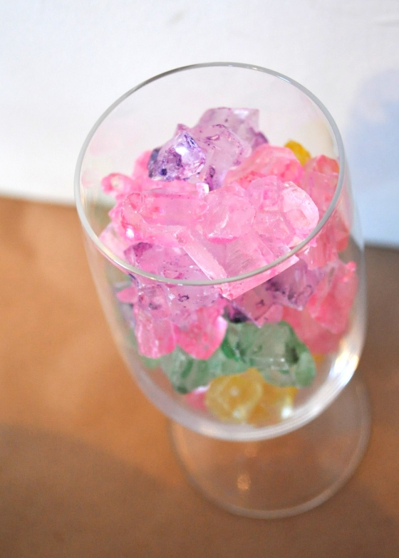 I also had some rock candy laying around, so I put it in some wine glasses.